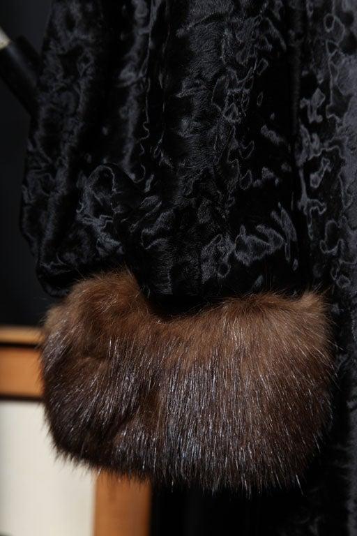 Women's Russian Broadtail & Sable Vintage Fur Coat by Revillon For Sale