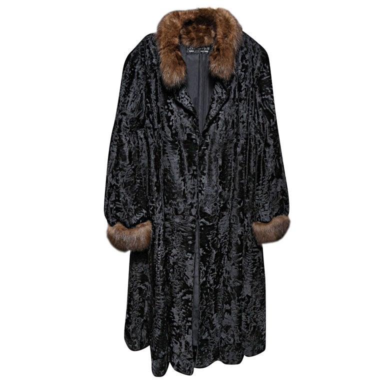 Russian Broadtail & Sable Vintage Fur Coat by Revillon