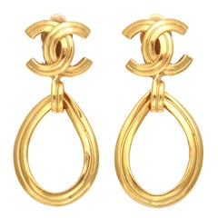 Chanel CC Tear Drop Earrings