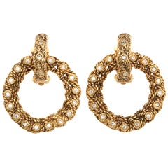 VINTAGE CHANEL BYZANTINE HOOP EARRINGS WITH RHINESTONES