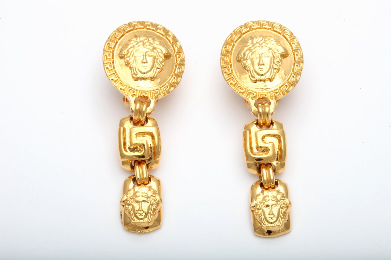 GIANNI VERSACE MEDUSA AND GRECA DANGLING EARRINGS 2