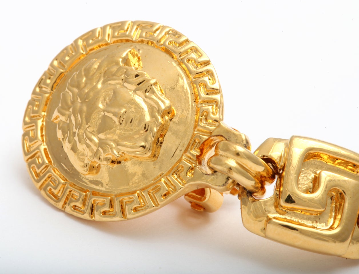 GIANNI VERSACE MEDUSA AND GRECA DANGLING EARRINGS 5