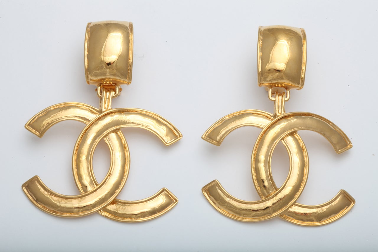 chanel large cc dangling earrings at 1stdibs
