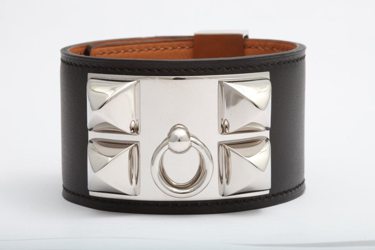 Hermes Collier De Chien Bracelet Black And Silver At 1stdibs