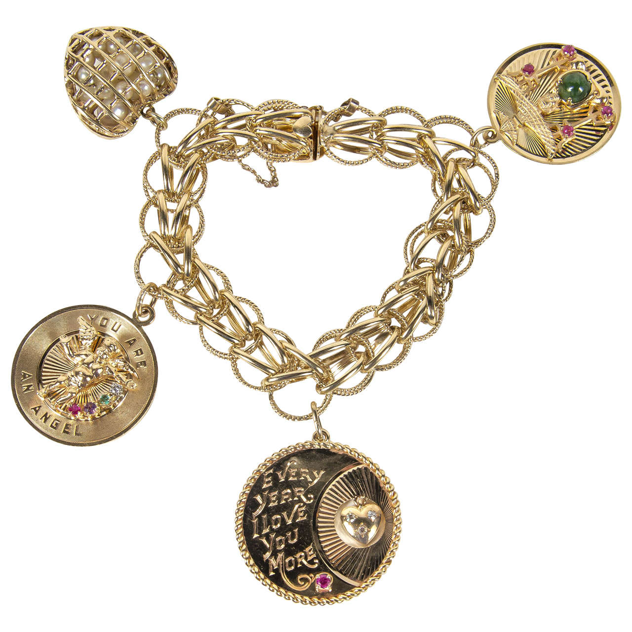 1950s Gold Multi Charm Bracelet With Cartier For