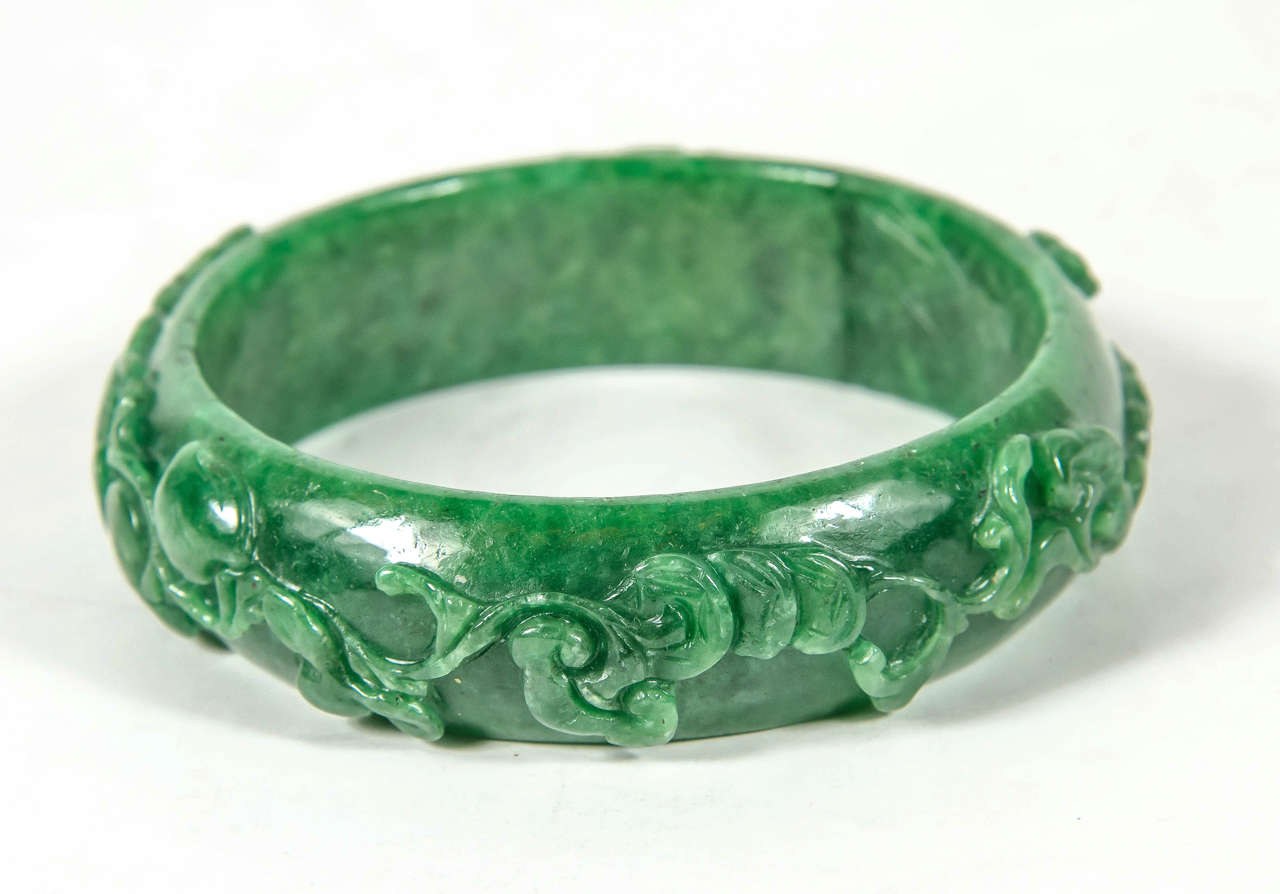 Artisan Exquisite Hand Carved Chinese Stylized Floral Scroll Design Stone Bangle For Sale