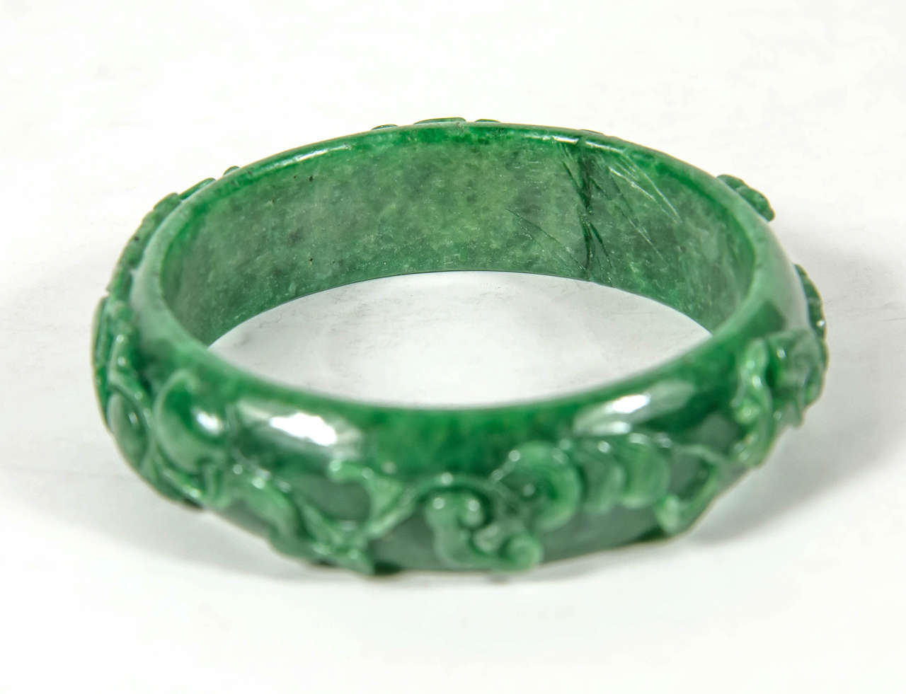 Women's Exquisite Hand Carved Chinese Stylized Floral Scroll Design Stone Bangle For Sale