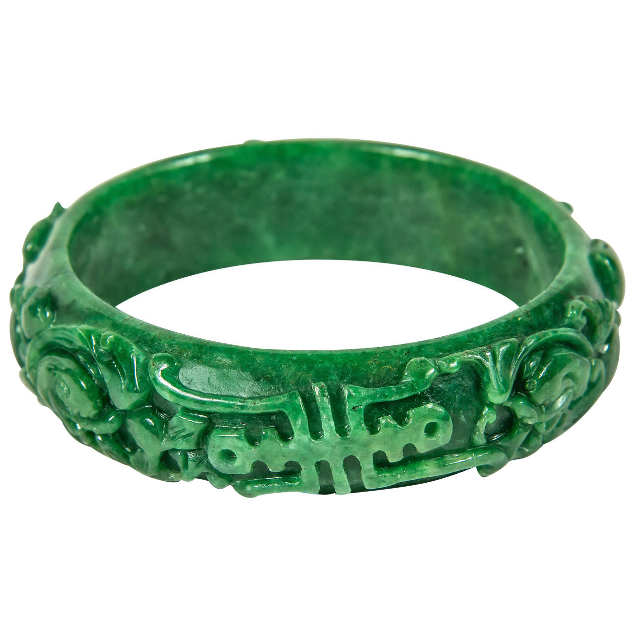 Exquisite Hand Carved Chinese Stylized Floral Scroll Design Stone Bangle For Sale
