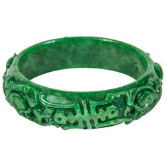 Exquisite Hand Carved Chinese Stylized Floral Scroll Design Stone Bangle