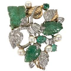 Retro Hand Carved Pearl Emerald Diamond Gold Platinum Foliage Design Brooch