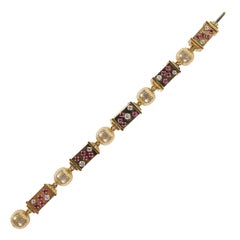 1940s Retro Ruby Diamond Rose Gold Link Bracelet