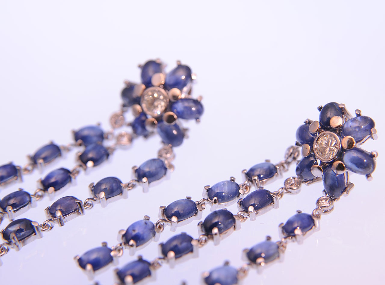 Dangling Sapphire and Diamond Gold Flower Earrings For Sale 1
