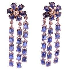 Dangling Sapphire and Diamond Gold Flower Earrings