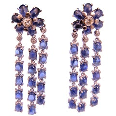 Dangling Sapphire and Diamond Gold Flower Earrings