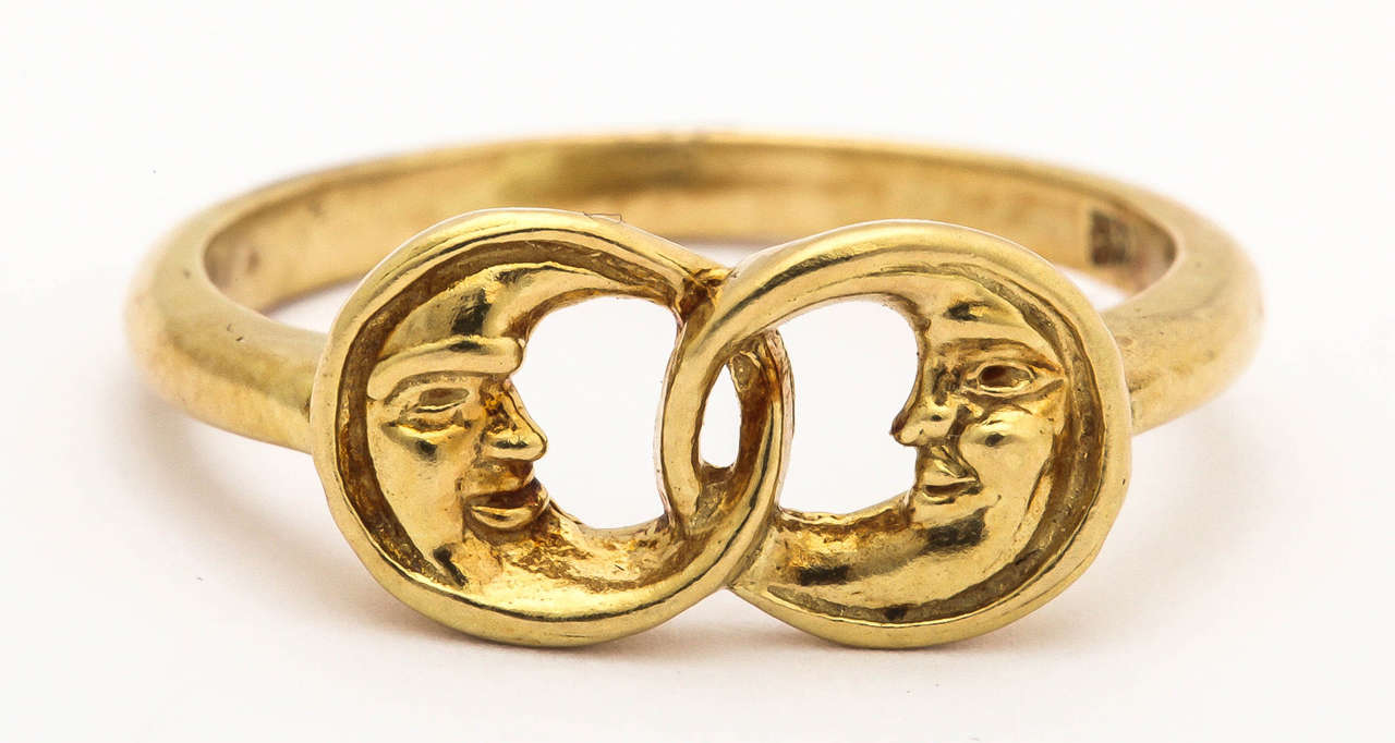 Gold Two Man-in-the-Moon Ring 2