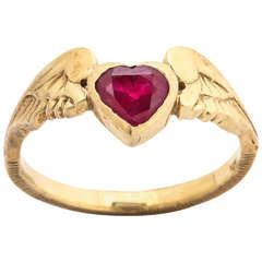 Heart Shaped Ruby Gold Wings Ring