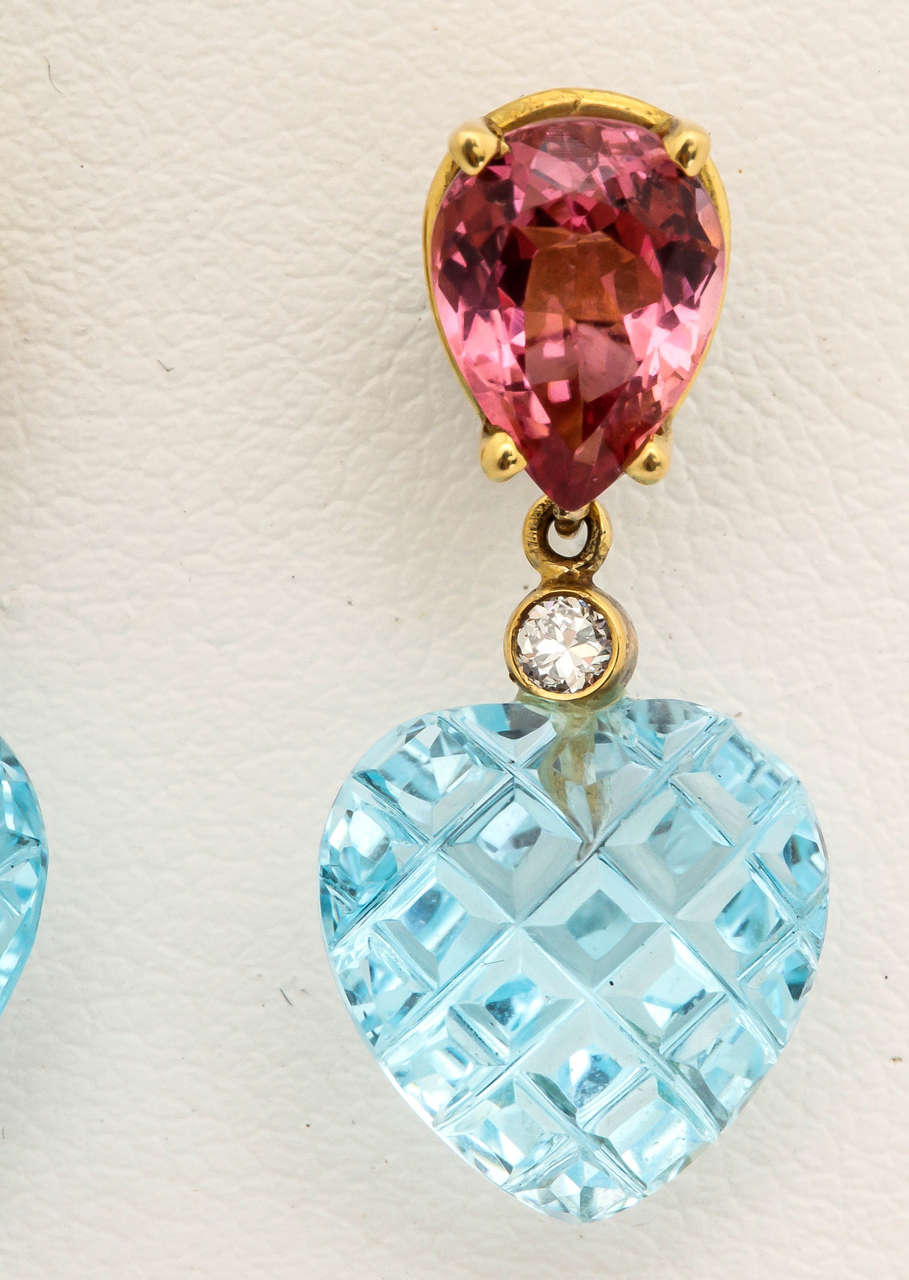 Contemporary Charming Pink Tourmaline Blue Topaz Heart Earrings For Sale