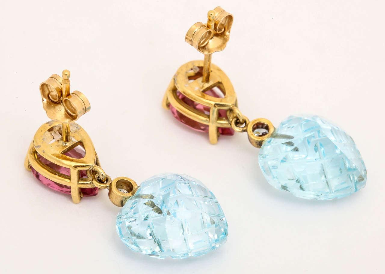 Charming Pink Tourmaline Blue Topaz Heart Earrings 4