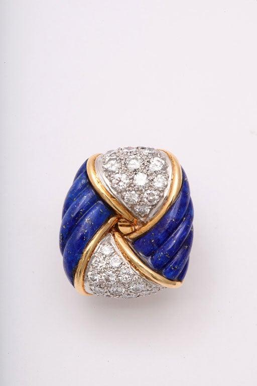 Women's Gold,  Lapis & Diamond Earrings by Tiffany & co For Sale
