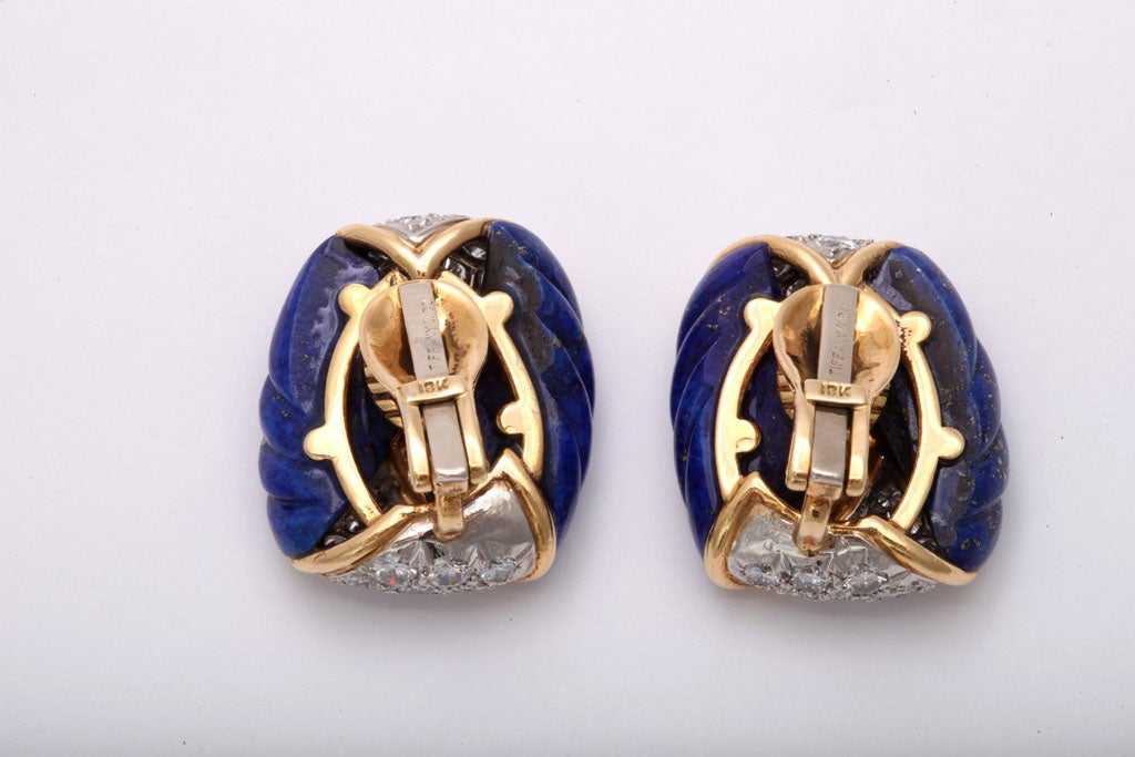 Gold,  Lapis & Diamond Earrings by Tiffany & co For Sale 1