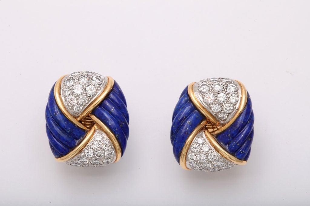 18k yellow gold frame centering fluted lapis lazuli 56 pave set diamonds 6.00 carats