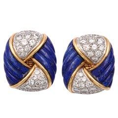 Gold,  Lapis & Diamond Earrings by Tiffany & co