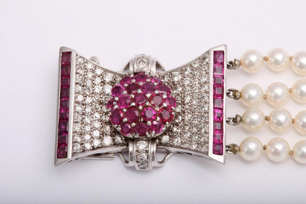 Retro Diamond and Ruby Bow Four Strands of Cultured Pearl Bracelet For Sale 1