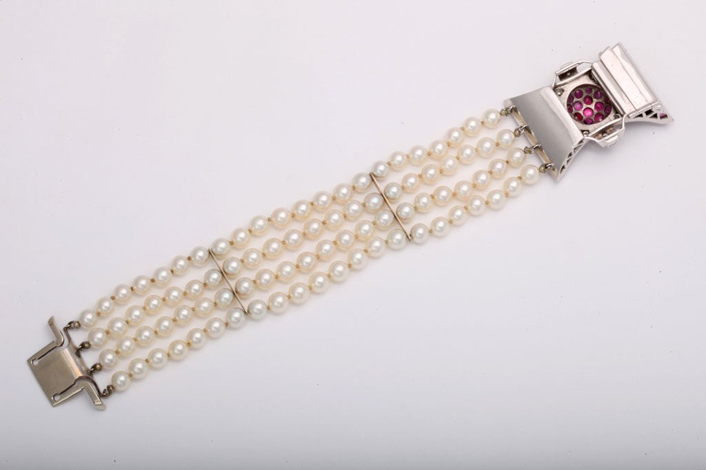 Retro Diamond and Ruby Bow Four Strands of Cultured Pearl Bracelet For Sale 2