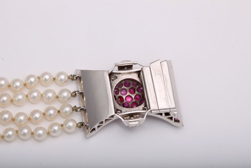Retro Diamond and Ruby Bow Four Strands of Cultured Pearl Bracelet For Sale 3