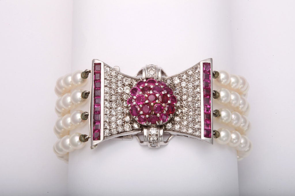 Retro Diamond and Ruby Bow Four Strands of Cultured Pearl Bracelet For Sale 4