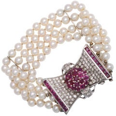 Retro Diamond and Ruby Bow Four Strands of Cultured Pearl Bracelet