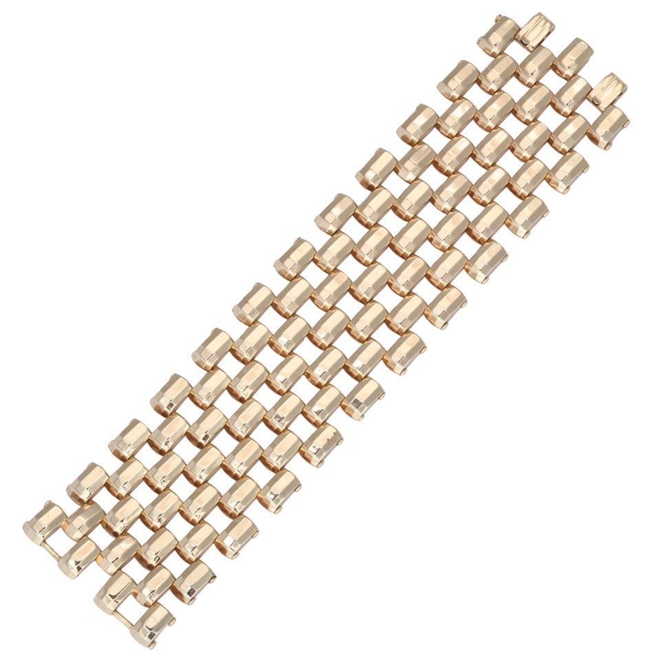 Goldtone WIde Link Cuff