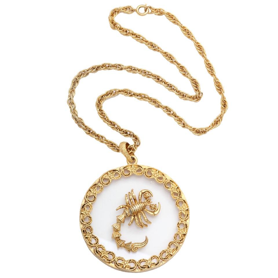 Scorpio and Lucite Pendant Necklace