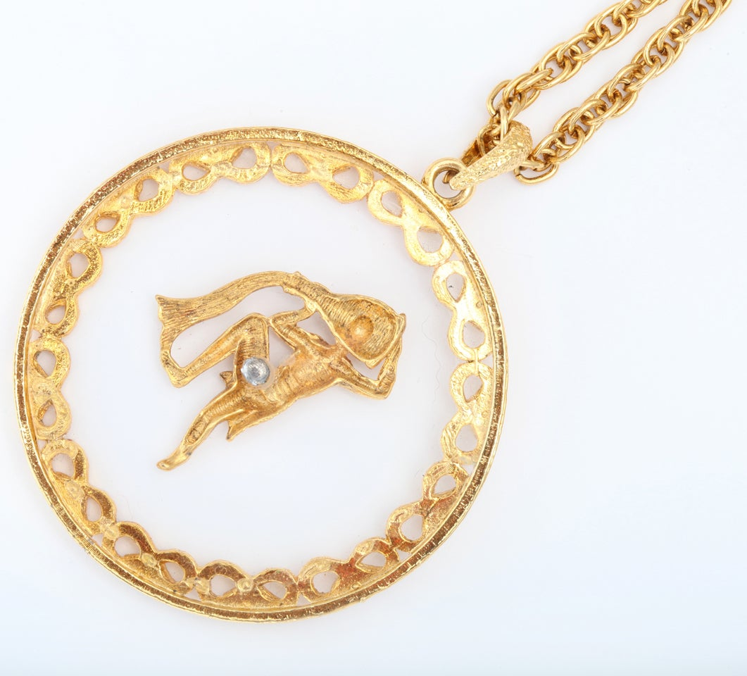 Goldtone and Lucite Zodiac Pendant Necklace For Sale 1