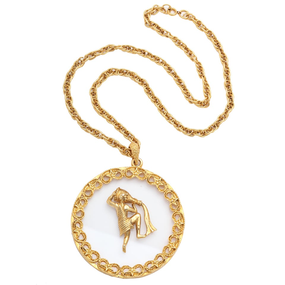 Goldtone and Lucite Zodiac Pendant Necklace For Sale