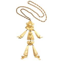 Goldtone Harlequin Pendant Necklace