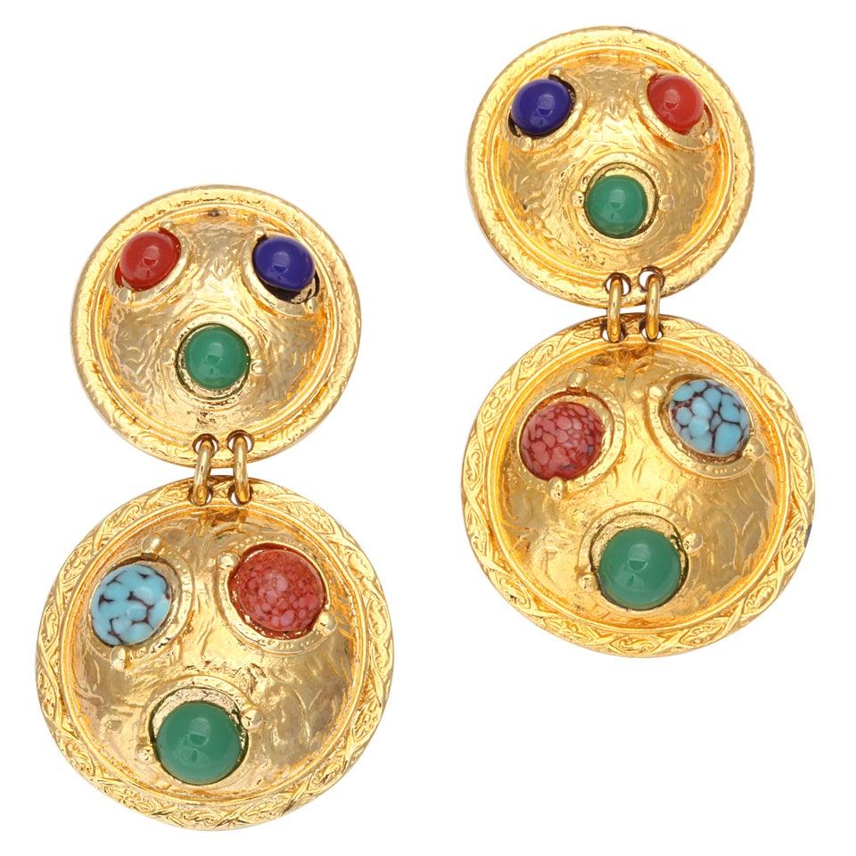 Double Shield Dangle Earrings