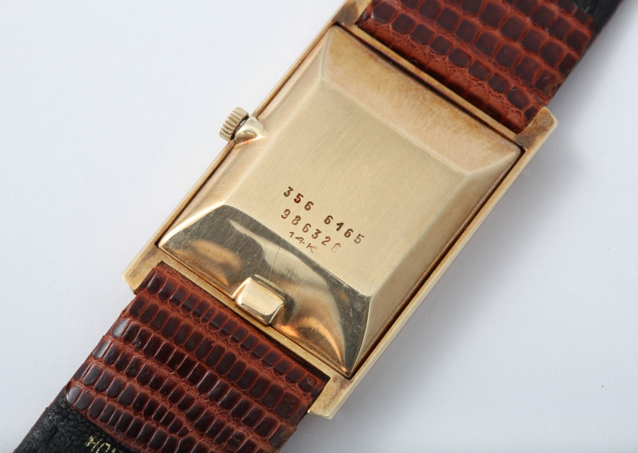 Black Starr & Frost Yellow Gold Rectangular Wristwatch For Sale 1