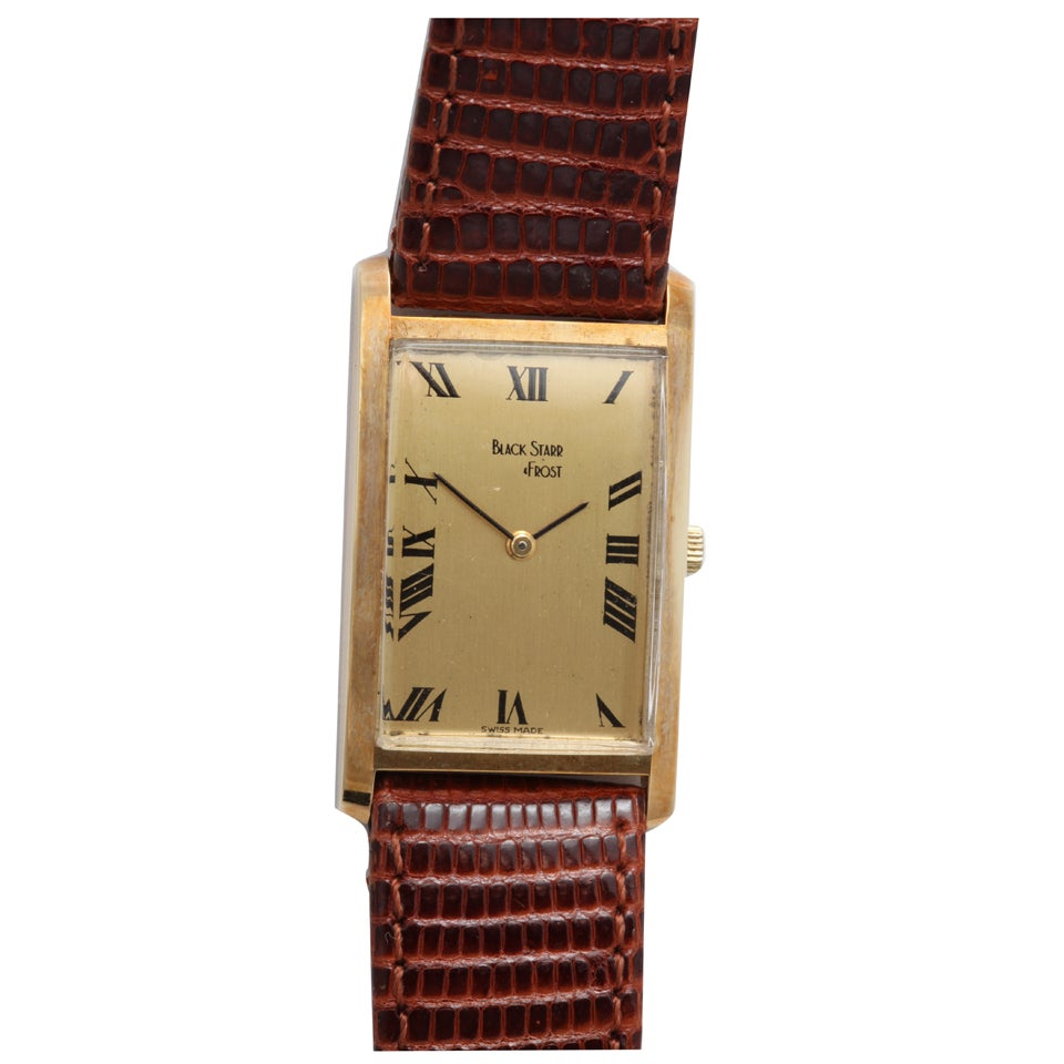 Black Starr & Frost Yellow Gold Rectangular Wristwatch For Sale