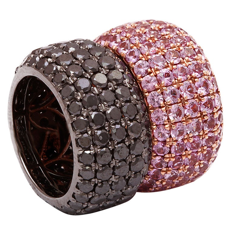 Wide Black Diamond Pink Sapphire Band Rings at 1stdibs