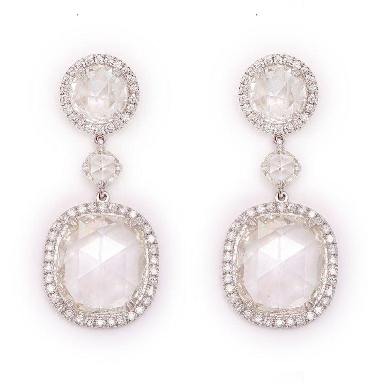Rose Cut Diamond Earrings 2