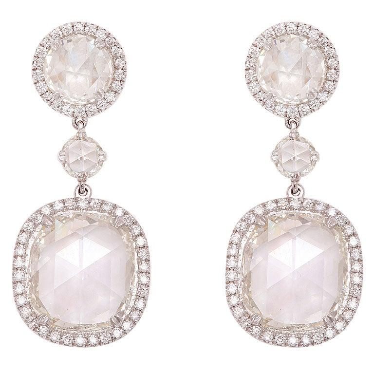 Rose Cut Diamond Earrings 1
