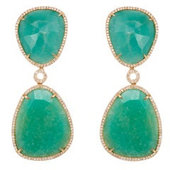 Amazonite Drop and Diamond Earrings
