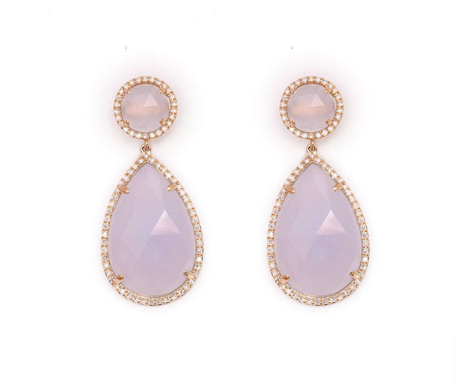 Rose Gold and Diamond Chalcedony Earrings 2