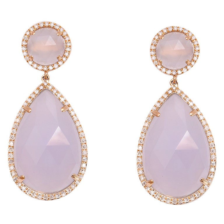 Rose Gold and Diamond Chalcedony Earrings 1