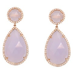 Rose Gold and Diamond Chalcedony Earrings