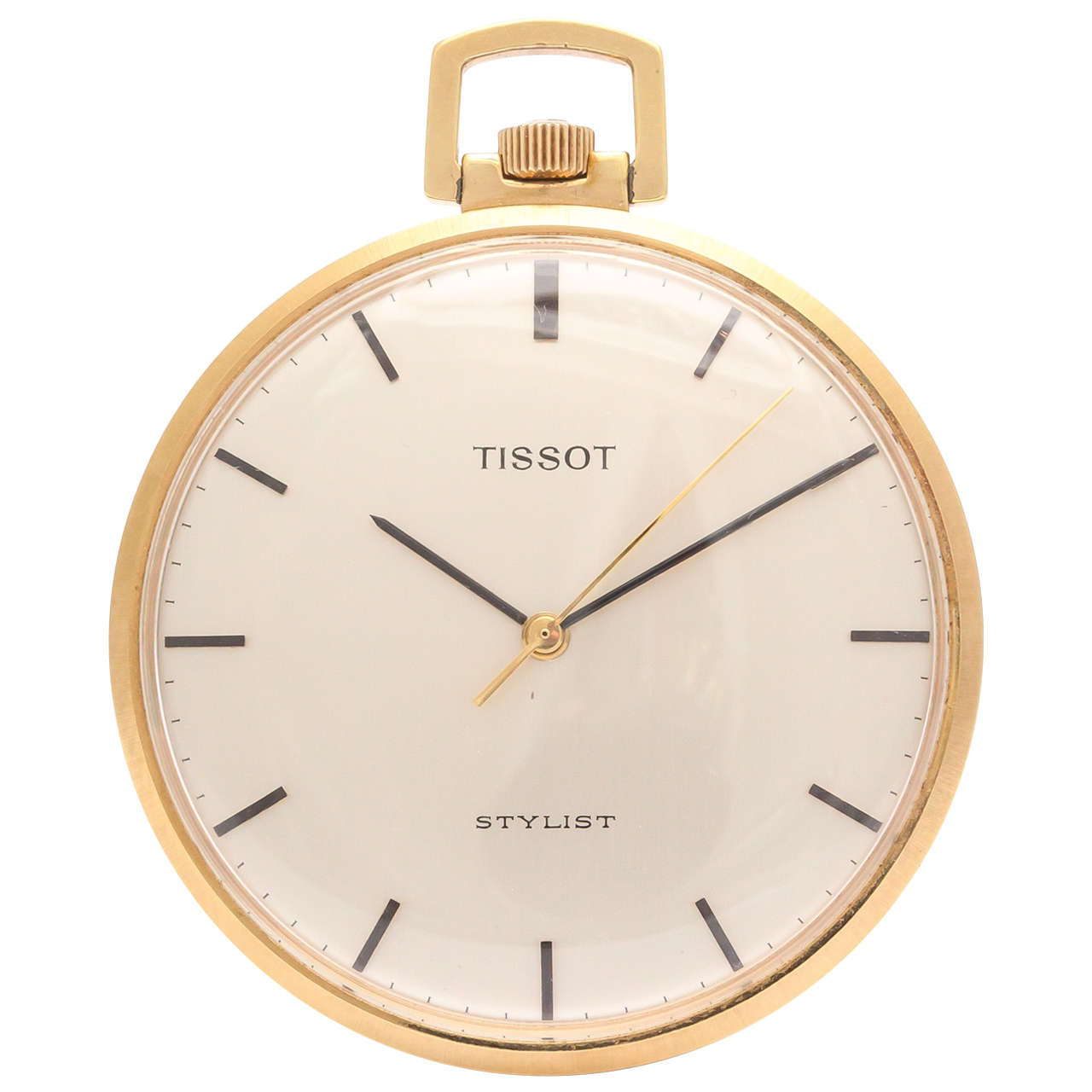 Tissot Yellow Gold Open Faced Stylist Pocket Watch circa 1950s