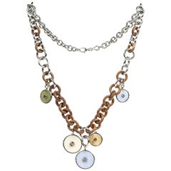 Gucci Sterling, Wood & Stone Link Necklace