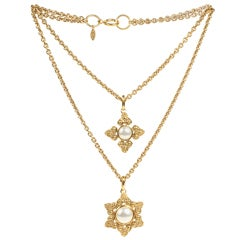 Chanel Double Strand Pendant Necklace