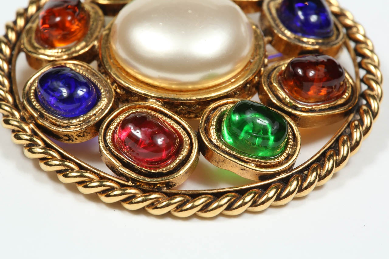 Chanel Colorful Poured Glass Brooch For Sale 3
